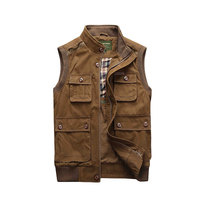 2018 New Arrival Sleeveless Jackets Cotton Vest Waistcoats Stand Collar Casual Fashion Cargo Military Tanks Pockets Business