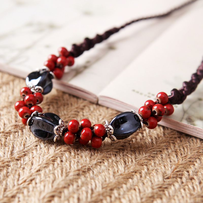 8SEASONS Chinese Style Handmade Braided Rope Necklace Red Blue Ceramic Beads 50cm Long Adjustable Ethnic Vintage, 1 Piece