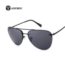 AOUBOU Brand Design Vintage Pilot Sun Glasses For Men UV400 Driver Sunglasses Men Black Frame High Quality Metal Eyeglass AB723