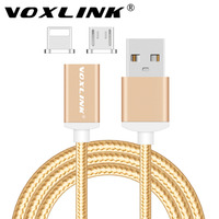 VOXLINK 2 in 1 Magnetic Micro USB Data Charging Cable For iPhone 7 6S Plus Samsung S6 HUAWEI LG 2.4A magnetic usb charger cable