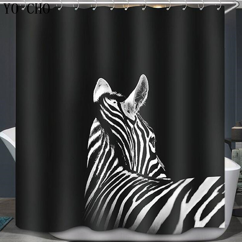 Eco Friendly 3D Thicken Shower Curtain Polyester Zebra Waterproof Home Bathroom Accessories Horse Curtains In From