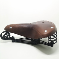 G10 Vintage elephant spring genuine leather spring saddle old style bicycle saddle genuine leather saddle Multi color optional