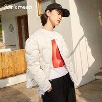 Samstree Winter Female Light Down Short Coat O neck Button White Women 90% White Down Jacket Casual Thin Black Coat