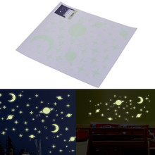 3D three-dimensional wall stickers bedroom roof Letter meteor the wall decorations luminous star light patch fluorescent sticker(China)