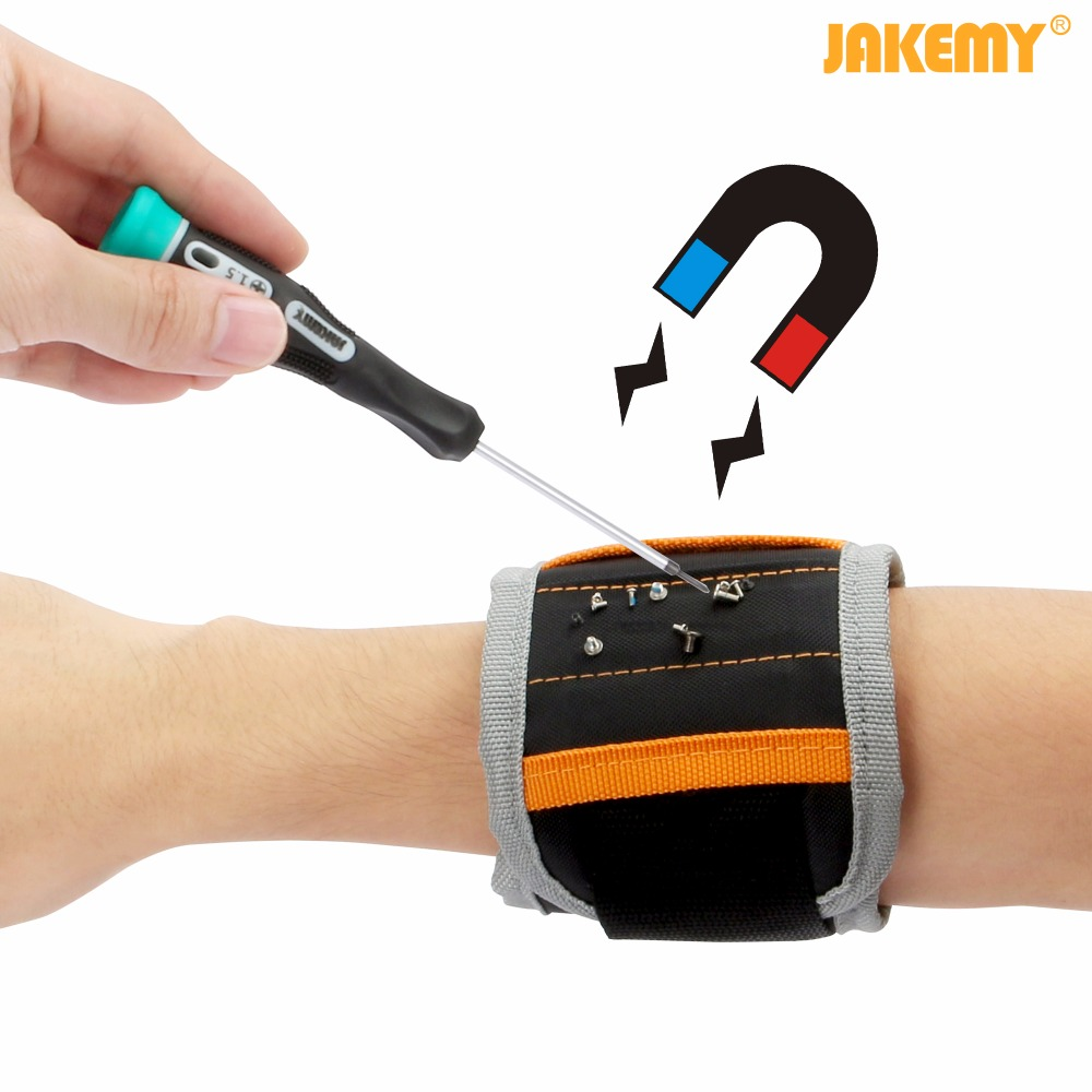 JAKEMY 14.6 Magnetic Wrist Band Wristband Bracelet Belt Pocket Tool for Holding Screw Nail Drill Bit Repair Tools
