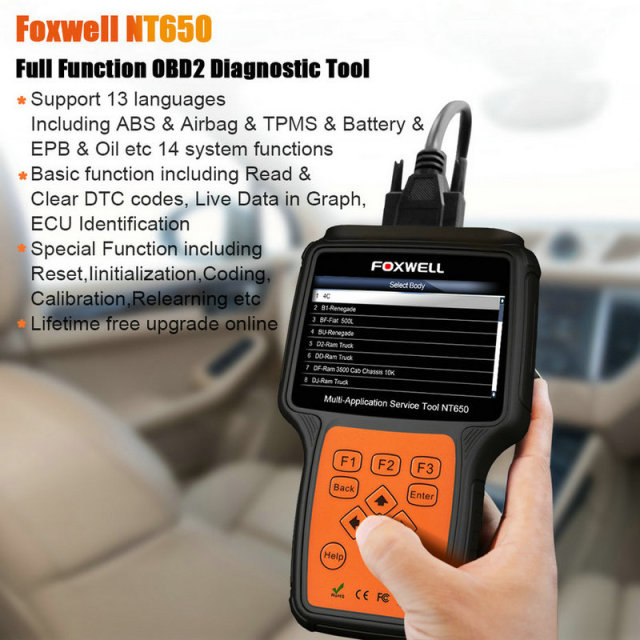 Foxwell NT650 OBD2 Car Diagnostic Tool ABS Airbag SAS EPB DPF TPMS Oil Reset Injector ODB2 Auto Scanner OBD 2 Automotive Scanner