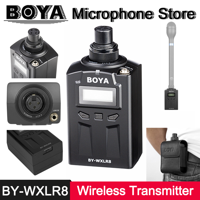 BOYA BY-WXLR8 Plug-On XLR Microphone LED Transmitter for BY-WM6R BY-WM8R BY-HM100 BY-M4C BY-M4OD BY-M8C BY-M8OD BY-M11C BY-M11OD
