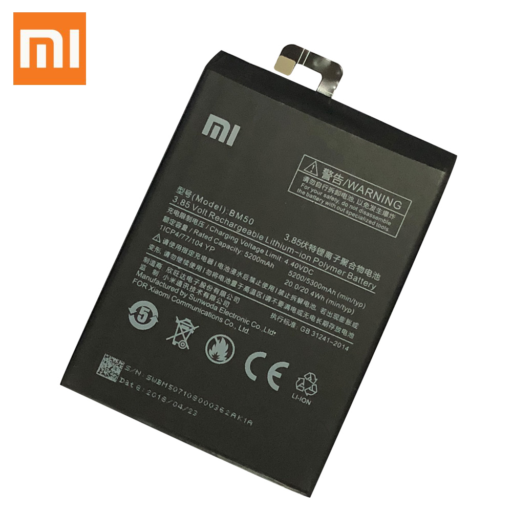 Xiao Mi Original Phone Battery BM50 for Xiaomi Mi Max 2 5200mAh Replacement Batteries Retail Package Free Tools in Mobile Phone Batteries from Cellphones Telecommunications