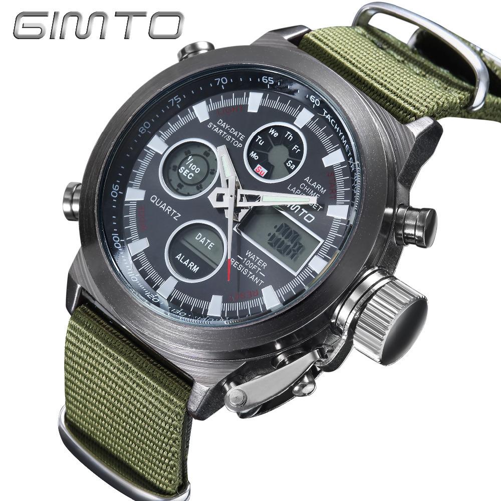 Prix pour Gimto militaire sport montre analogique numérique nylon double affichage montre hommes led eletronicos hommes de montres étanches montre-bracelet des hommes