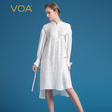 VOA 2017 Summer Fashion Silk Jacquard Office Blouse Elegant Long Sleeve White Shirt Plus Size Loose Women Tops BZJ00101