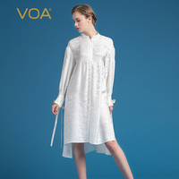 VOA 2017 Summer Fashion Silk Jacquard Office Blouse Elegant Long Sleeve White Shirt Plus Size Loose Women Tops BZJ00101