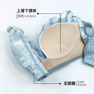 Image 5 - Jyf marca de alta qualidade japão conjunto sutiã sem costura sólido push up lingerie feminina conjunto sexy renda profunda v sutiã breve conjuntos
