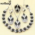 XUTAAYI Alluring Black Imitation Sapphire 4PCS Jewelry Set 925 Sterling Silver Overlay Earrings Ring Necklace Pendant Bracelet