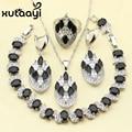 XUTAAYI Alluring Black Imitation Sapphire 4PCS Jewelry Set 925 Sterling Silver Overlay Earrings Ring Necklace Pendant Bracelet