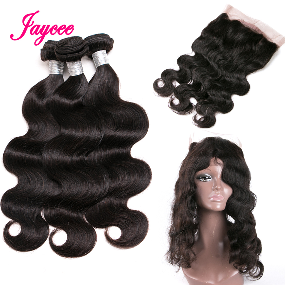 Brazilian Body Wave 360 Lace Frontal Closure With Bundle Human Hair 3 Bundles With Closure 360 Lace Frontal NonRemy 4 PCS