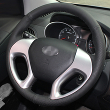 BANNIS Black Artificial Leather DIY Hand-stitched Steering Wheel Cover for Hyundai ix35