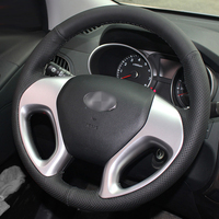 Black Artificial Leather DIY Hand Stitched Steering Wheel Cover For Hyundai Ix35