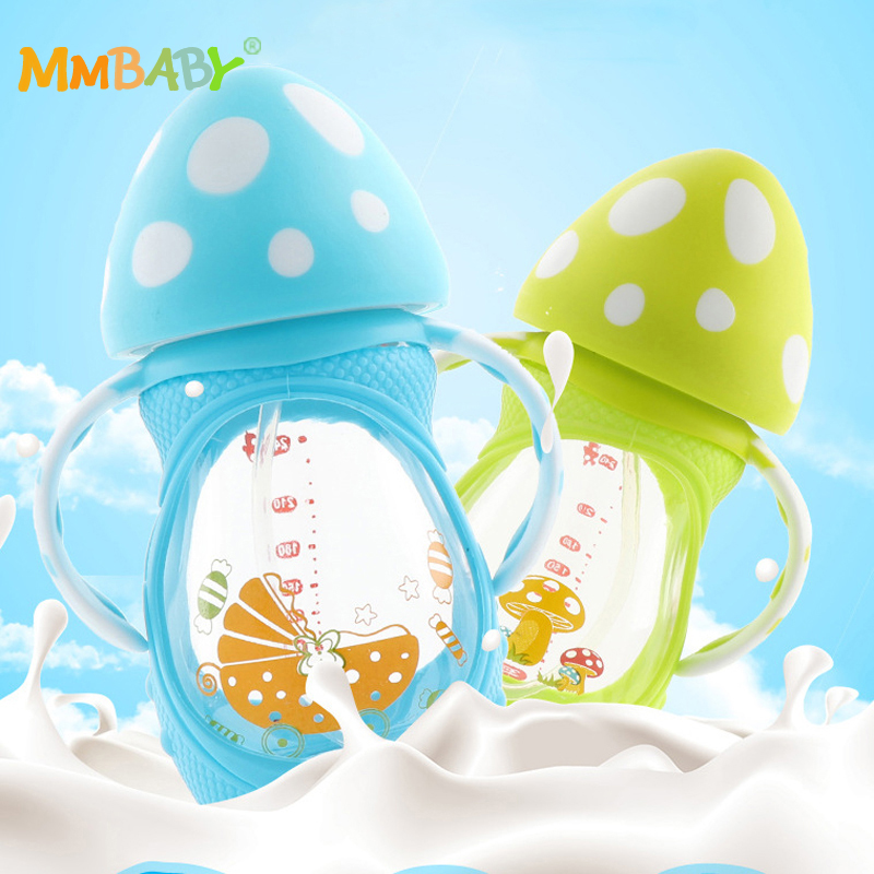 MMBABY 150ml Baby Milk Feeding Bottle with Silicone Handle BPA Free Safe Infant Drinking Water Glass Bottle