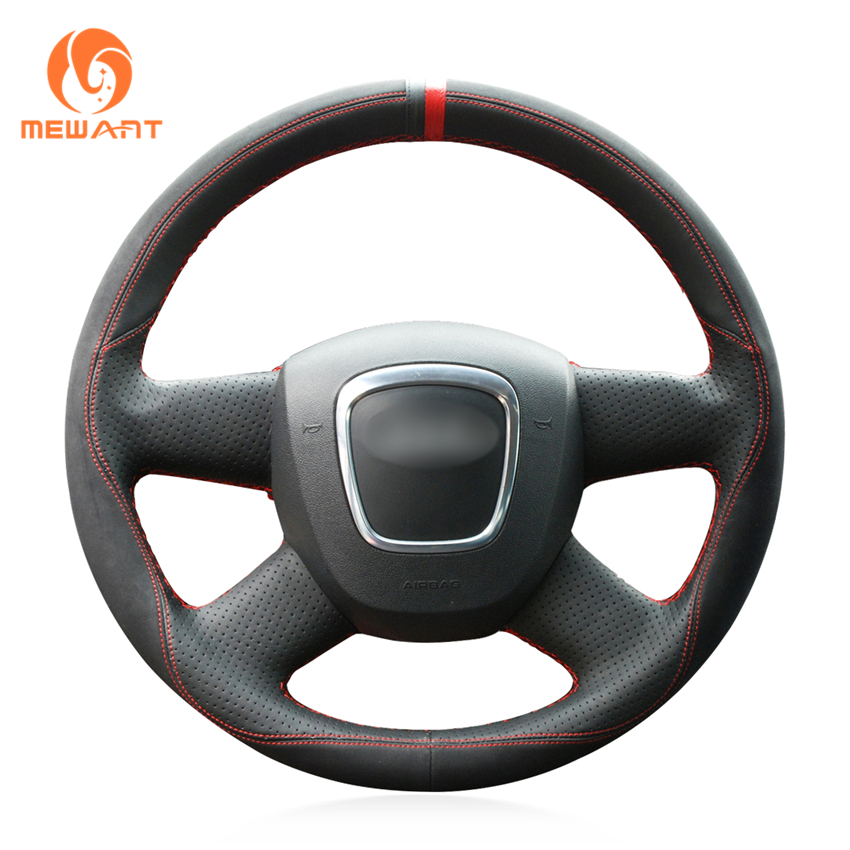 MEWANT Black Leather Black Suede Car Steering Wheel Cover for Audi Old A4 B7 B8 A6 C6 2004-2011 Q5 2008-2012 Q7 2005-2011 mewant black genuine leather car steering wheel cover for old kia sorento 2004 2008