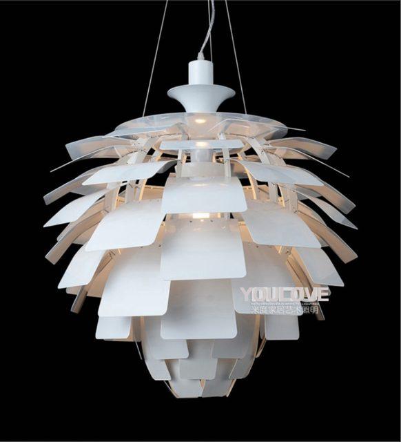 Nordic Modern Pine Cone Droplights White Silver Artichoke Lamps Home Indoor Lighting Aluminium Pendant Lights Fixture D60cm 48cm