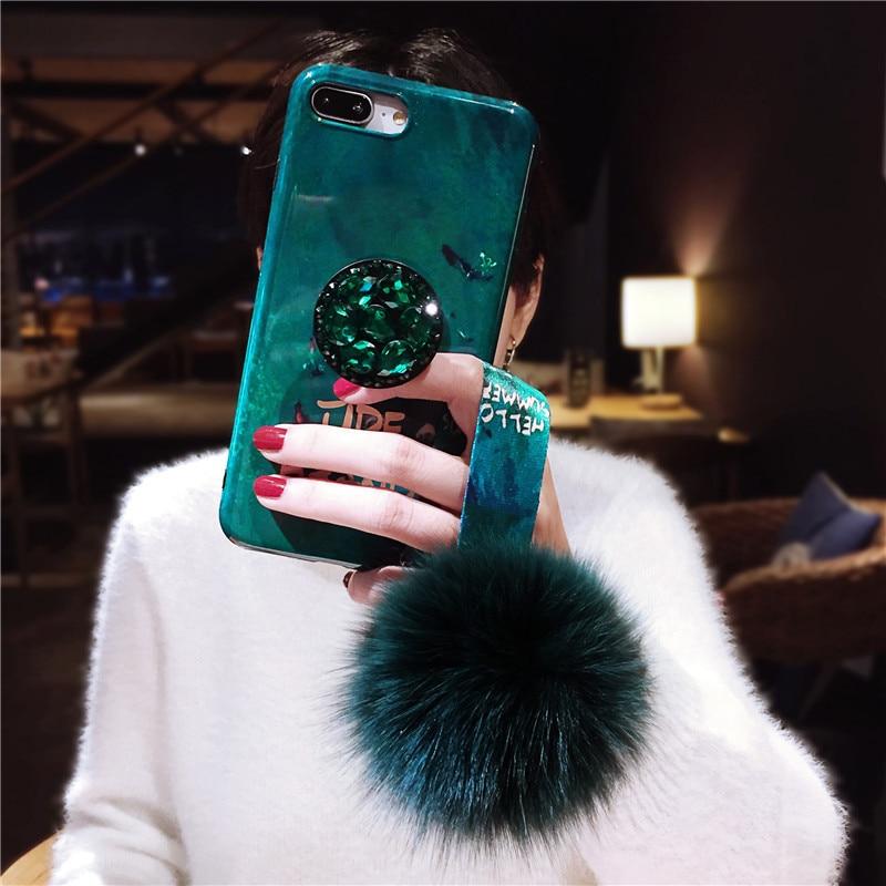 Emerald Hair Ball Applexs Max Mobile Phone Shell 7p Rhinestone IPhone8plus Silicone Soft Xr Female Models
