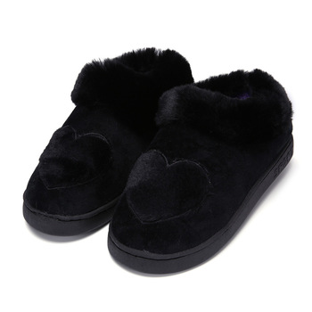New Arrival Heart-Shaped Cotton Women Slippers Warm Plush Winter Fur Slippers Soft Indoor Shoes Flat With Home Slippers 4