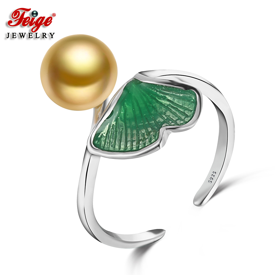 Trendy Leaf Silver 925 Pearl Ring for Women Anniversary Jewelry 8-9MM - Fine Jewelry - Photo 1