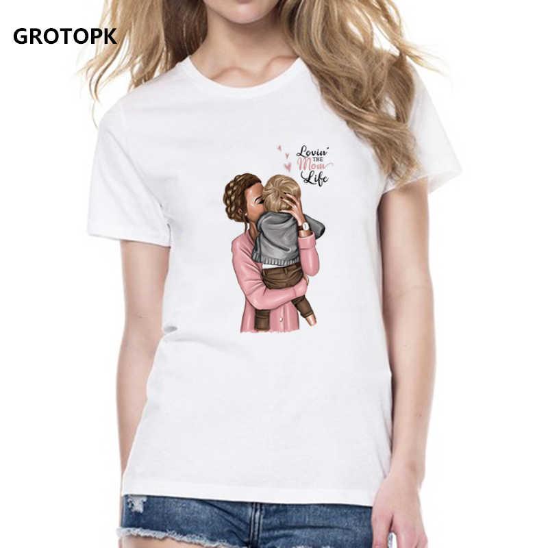 d15315ea Women Tshirt Super Mama and Baby Boy Love Life Vogue Print T Shirt Harajuku  Kawaii Streetwear