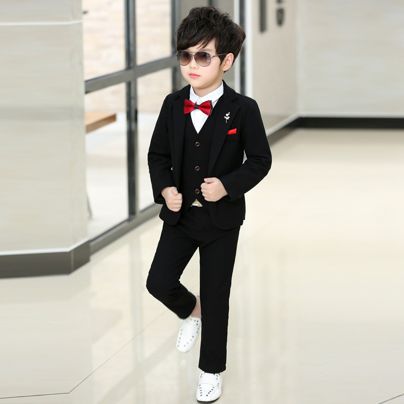 2018 Fashion Boy Suit For Weddings Prom Party Baby Boys Blazers Children Clothing Suits Blazers For Boys 3pieces Coat+Vest+Pants