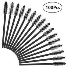 100 Pcs Disposable Eyelash Brushes Mascara Wands Eye Lash Eyebrow Applicator Cosmetic Makeup Brush Tool Kits (Black)