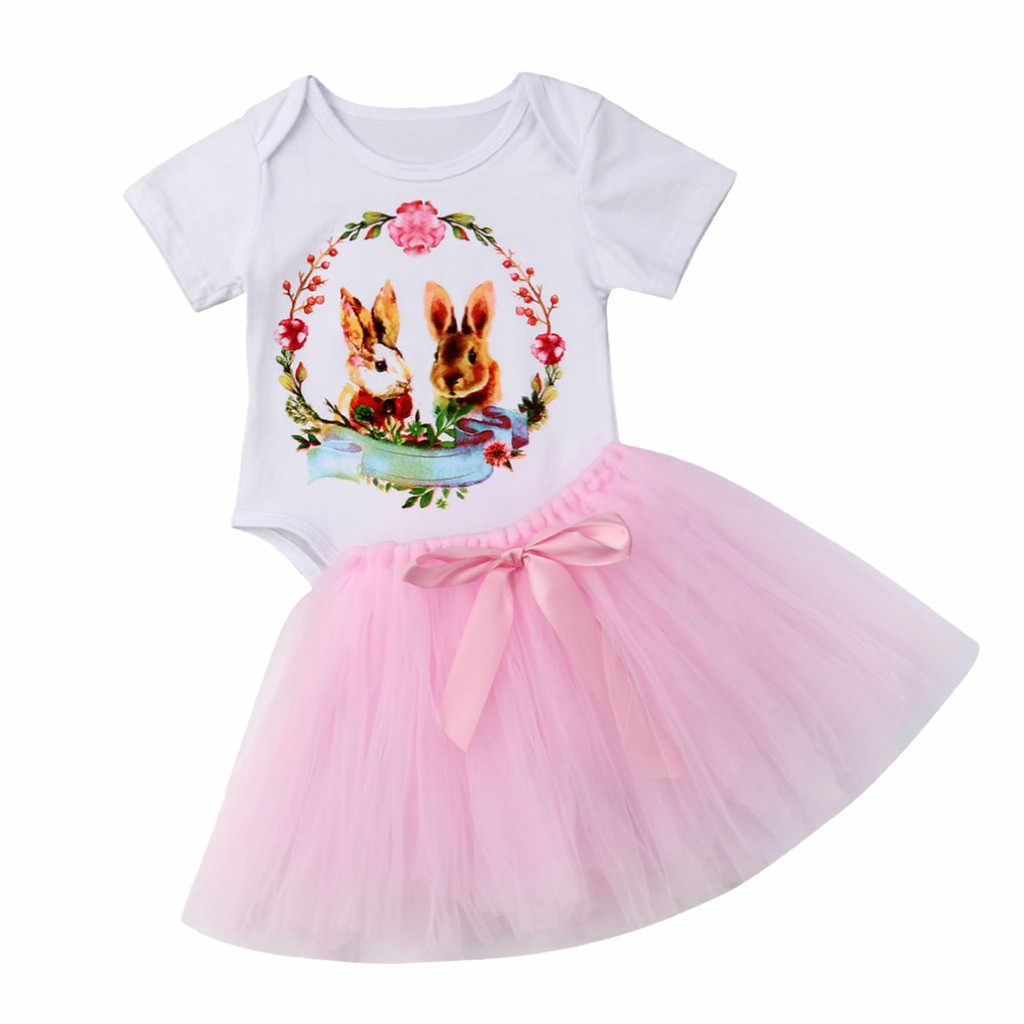 Летняя одежда для малышей комбинезон с рисунком кролика на Пасху для девочек + юбка-пачка vestido infantil ensemble fille