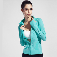 Winter sports long – sleeved breathable running fitness yoga clothing speed – dry anti – Slim cardigan shirt