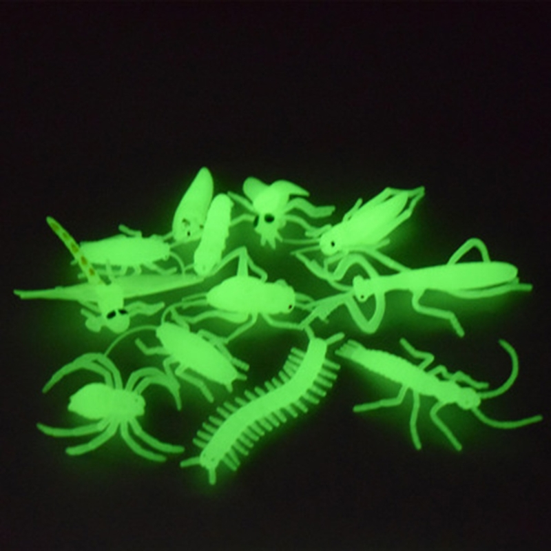 Novelty 12Pcs/set Soft Luminous Shrimp Spider Insect Night Glow Worms Halloween Toy Joke Gag Christmas Gifts