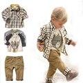 2016 Новая Мода Дети Одежда Мальчики Осень Комплект Одежды Рубашка + печать Футболка + Брюки Мальчиков Одежда Детская Одежда 3 Т-7 Т