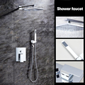 Bathtub Rainfall Shower head Polished Wall Mouned 360 Degree Swivel Panel Mixer Taps Shower Faucets Set Chrome Finish