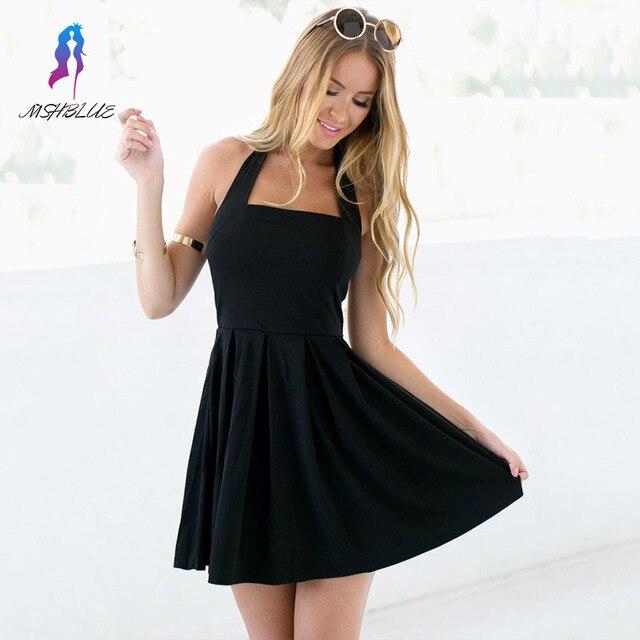 Nueva Llegada Simple Negro Cabestro Vestidos de Coctel Sin Mangas Mini Cremallera Volver Vestidos del Regreso Al Hogar
