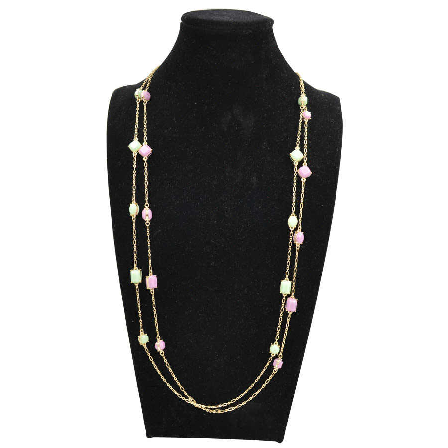 BIGBING fashion jewelry green purple crystal golden long chain necklace  wholesale jewelry high quality  M029