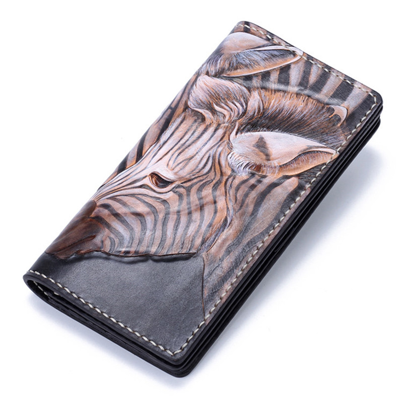 Handmade Genuine Leather Wallets Carving Zebra Bag Purses Women Men Long Clutch Vegetable Tanned Leather Wallet  Card Holder brand handmade genuine vegetable tanned leather cowhide men wowen long wallet wallets purse card holder clutch bag coin pocket page 9