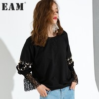[EAM] 2018 Autumn Fashion New Pearl Stitching Lace Cuff Long Sleeve O neck Pullovwes Solid Loose Sweatshirt Woman AL1031