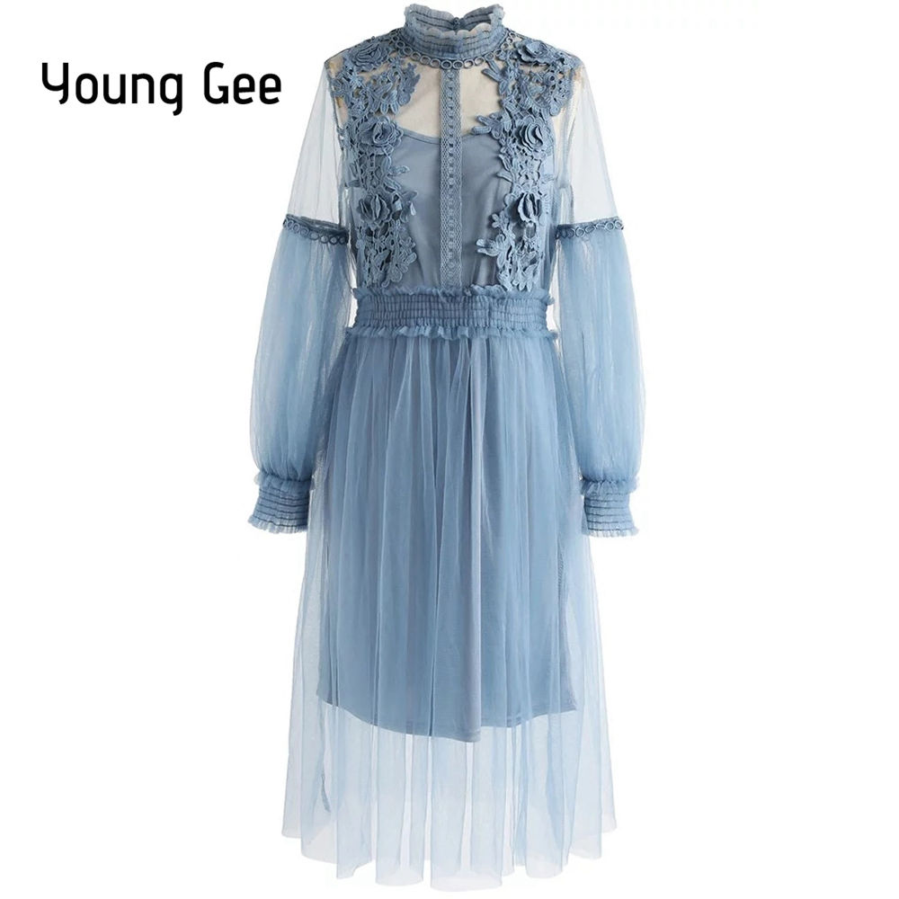Young Gee Sweet O-Neck High Waist Long Dresses Women Spring Robe Femme Slim Thin Mesh Floral Lace Dress Lantern Sleeve Vestidos