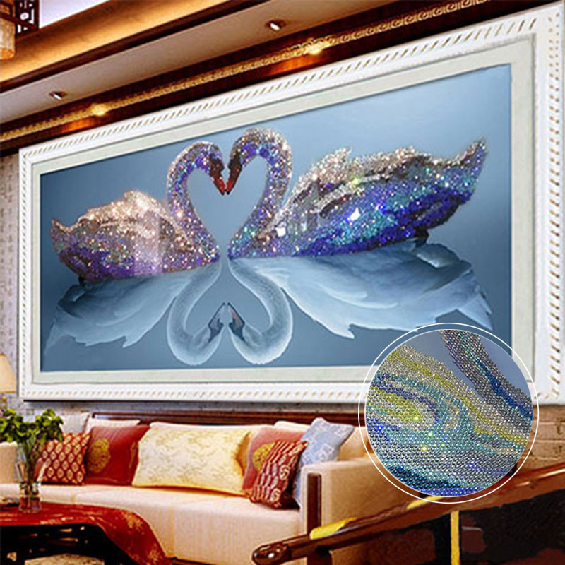 5d diy mosaic art needlework diamond painting swan rhinestone pasted cross stitch animal wedding diamond swans embroidery gifts