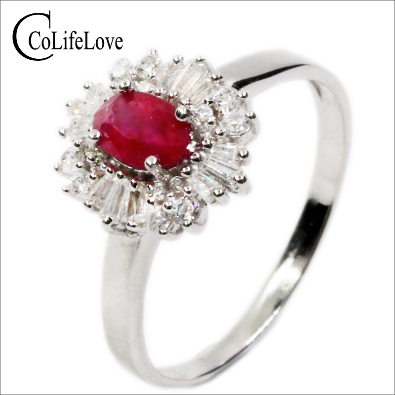 Luxurious silver ruby ring 4mm*6mm 0.5 ct genuine Burma ruby gemstone solid 925 silver romantic birthday gift for girlfriend накидка вафельная мужская 42 56