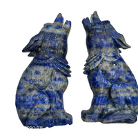 Natural Crystal carving lapis lazuli Wolf figure statue hand carved crystal healing For family or holiday gifts