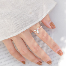 Simple Style Silver Popular Leaves Open Ring 925 Olive Leaf Plant Rings Women Girl Adjustable
