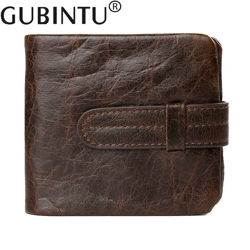 GUBINTU Genuine Cowhide Leather Wallets Fashion Men Short Purse with Card Holder Vintage Wallet Clutch Wrist Bag 2017 new cowhide genuine leather men wallets fashion purse with card holder hight quality vintage short wallet clutch wrist bag