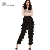 Dreawse Casual Loose Black Trend Personality Mid Waist Tiered Ruffle Slim Vintage Elegant Long Flare Pants Tower Pants D9875