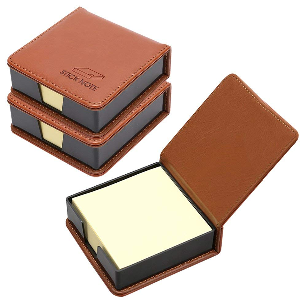 Business Sticky Notes Holder with 3 x 3 inch Sticky Note, 3 Pack (Brown) все цены