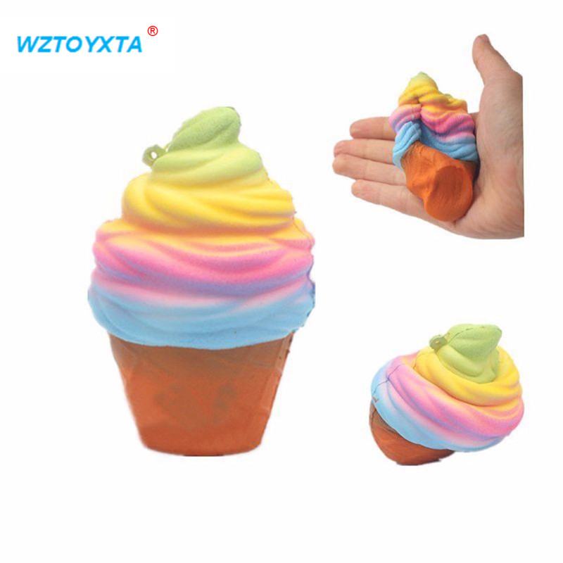 New 10CM Kids PU Candy Color Ice Cream Ball Squishy Toy Cake Bread Gag Joke Toys Slow Rising Squeeze P15 Fidget Hand Spinner Lol