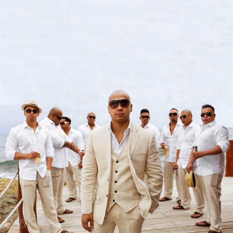 Summer Beige Linen Wedding Suits Beach Groom Tuxedos 3