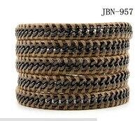 2016 new arrival chain bangle vintage Style weaving leather wraps bracelet ,adjusted size JBN-957